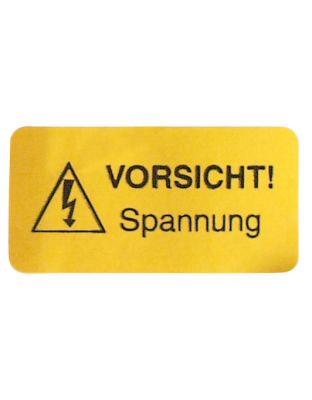 """Warnschildchen-Elektro gelb   """"Vorsicht! Spannung"""""""